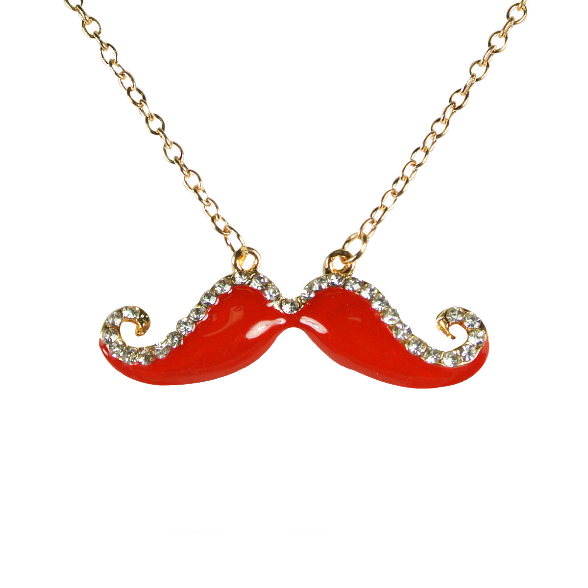 Red Handlebar Mustache Necklace with Crystals