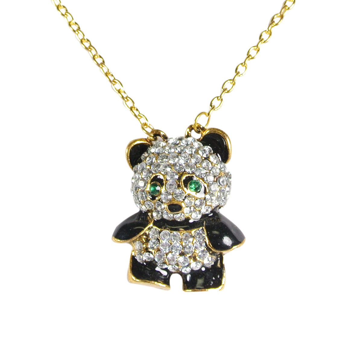 Crystal Rhinestone Panda Bear Pendant Necklace