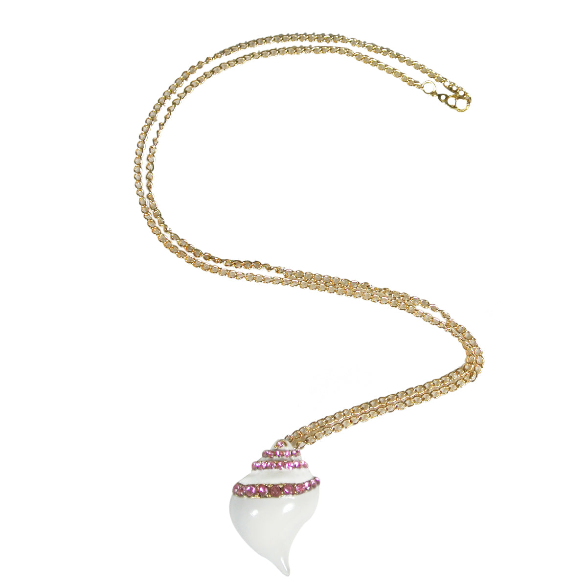 Conch Seashell Pendant Necklace with Pink Crystals