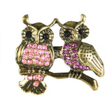 Magenta and Pink Crystal Rhinestone Double Owl Adjustable Ring