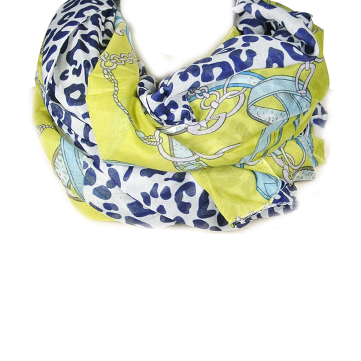 Leopard and Chain Print Scarf