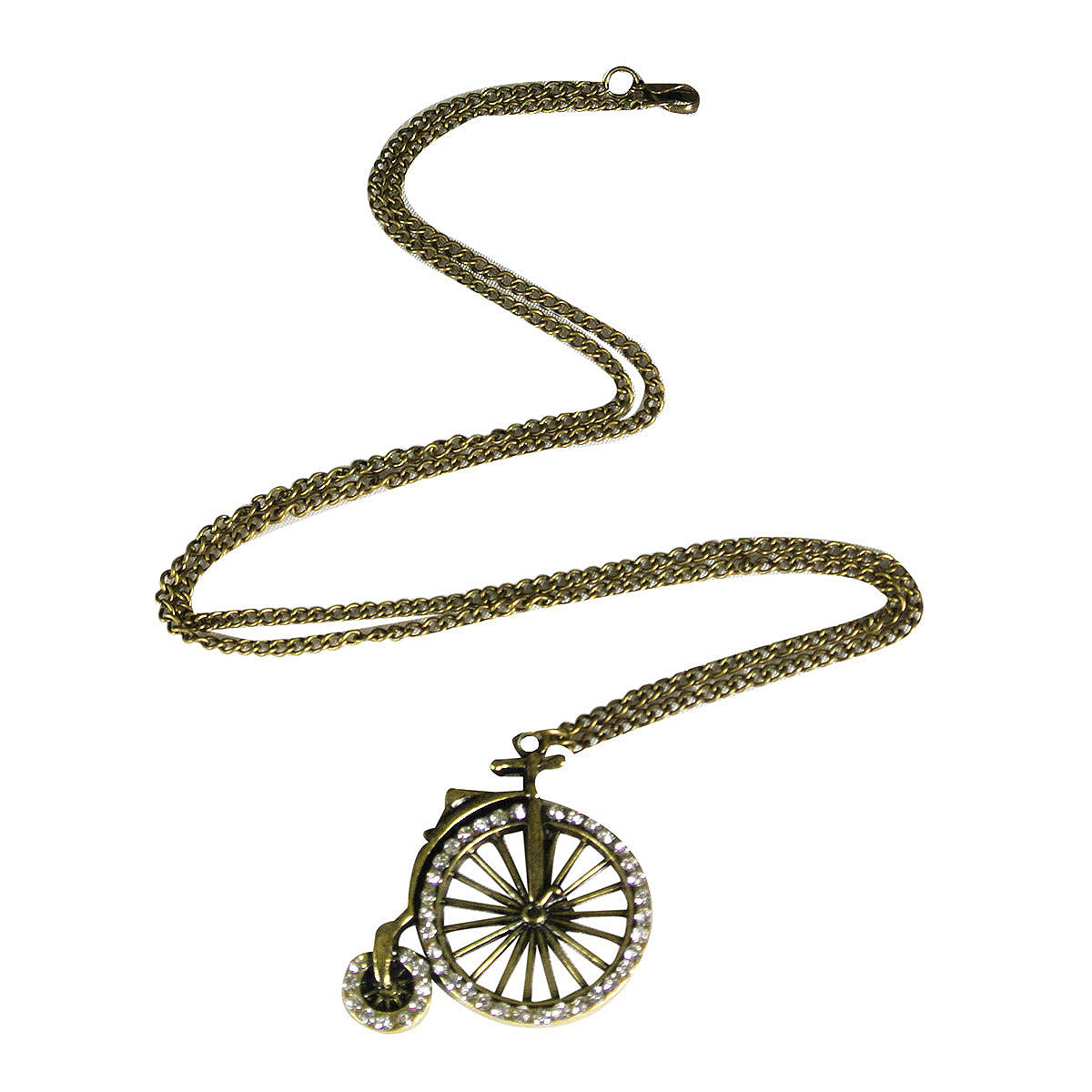Vintage Crystal Rhinestone Old Time Bicycle Pendant Necklace