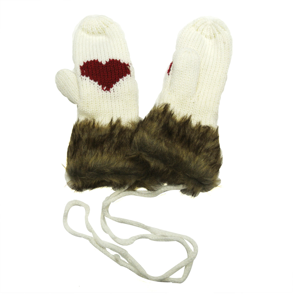 Wrapables Sweetheart Style Mittens with Faux Fur Trim
