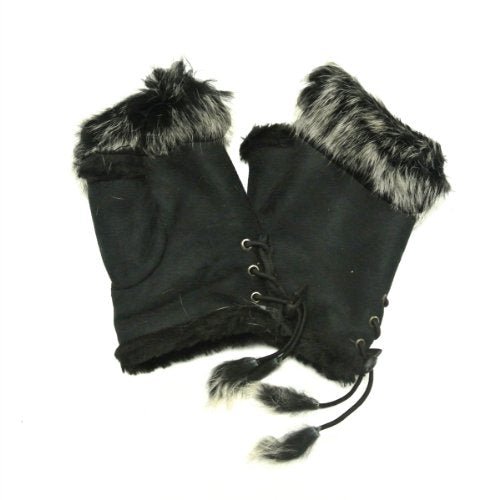 Wrapables Winter Warm Fingerless Gloves with Rabbit Fur Trim