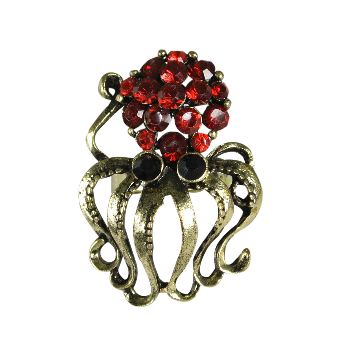 Vintage Crystal Octopus Adjustable Ring