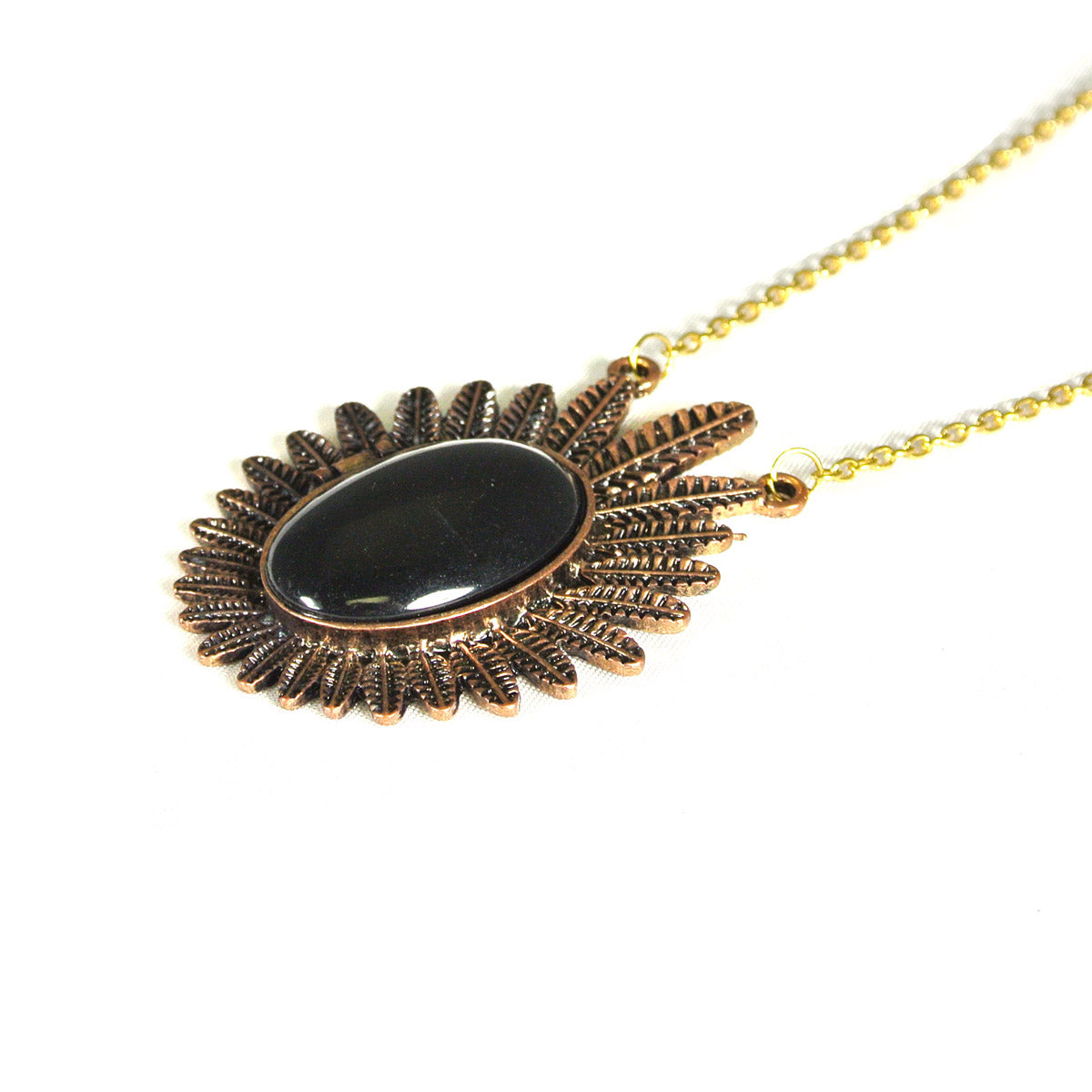 Vintage Black Oval Flower Locket Necklace