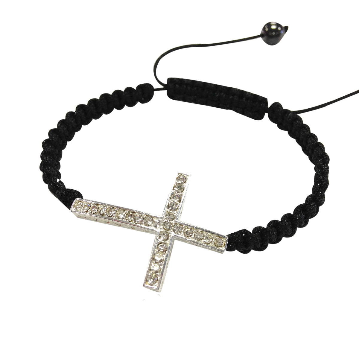 Bracelet Rhinestone with Studded Sideways Cross