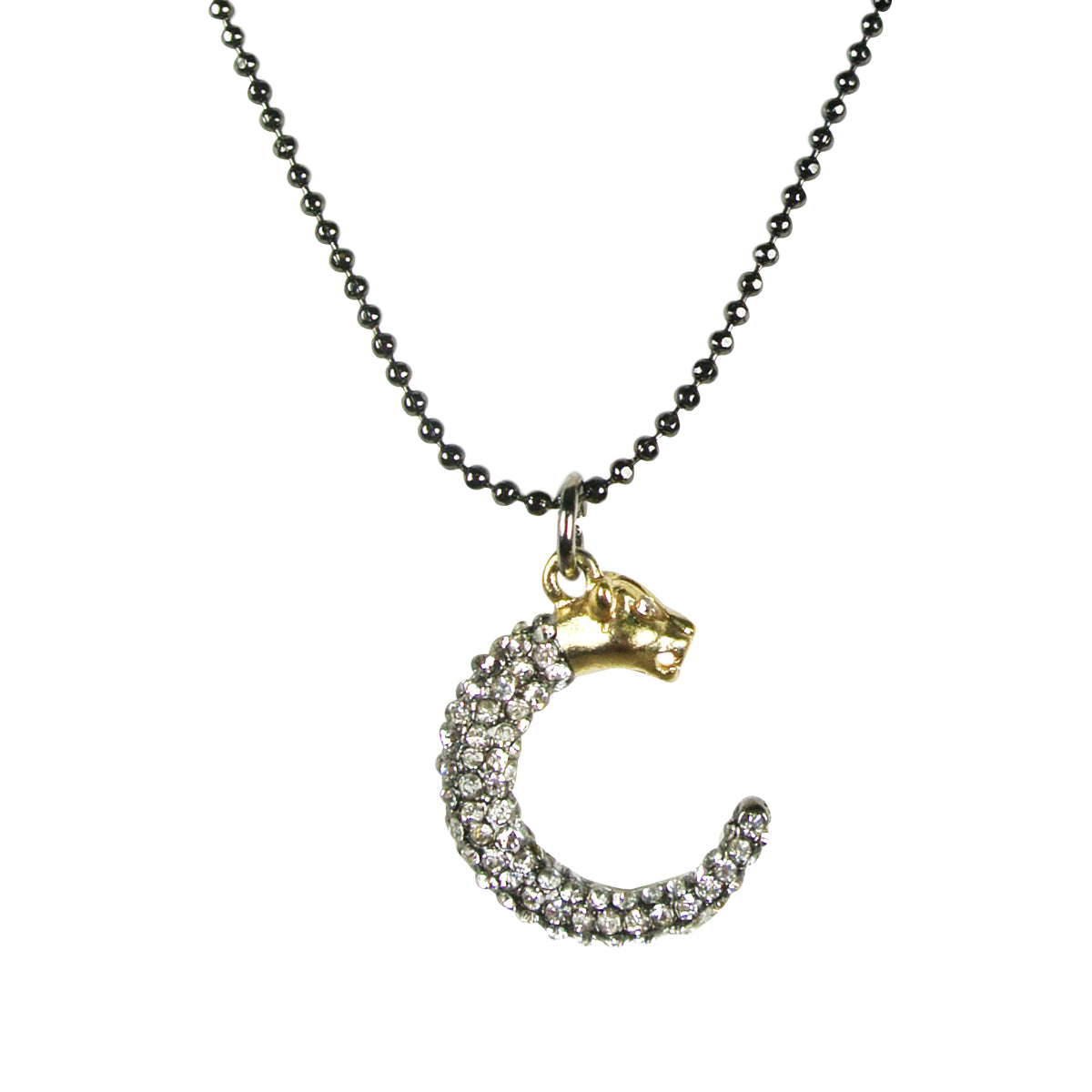 Crescent Panther Pendant Necklace