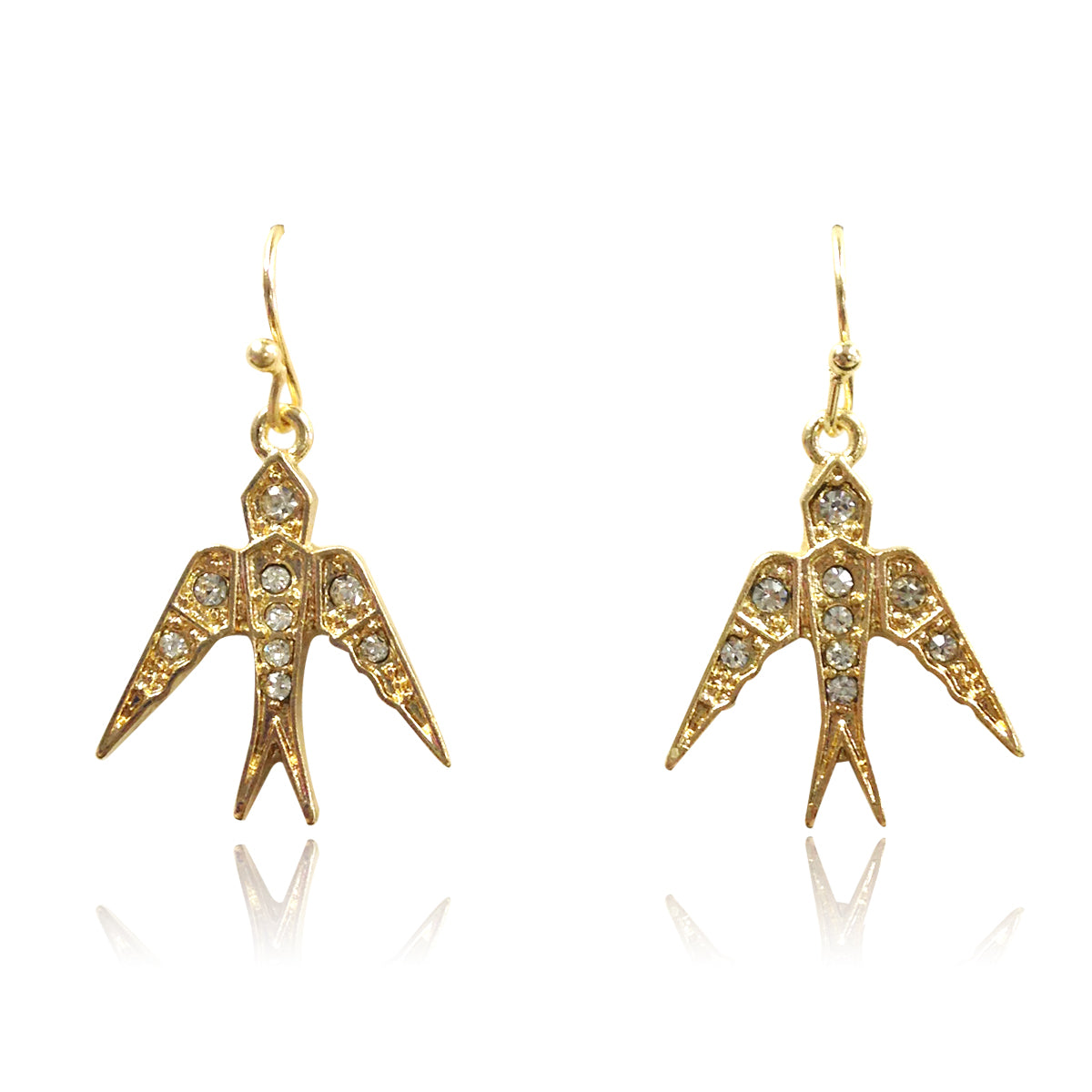 CZ Crystal Swallow Earrings