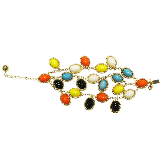 Multicolored Resin Triple Strand Bracelet