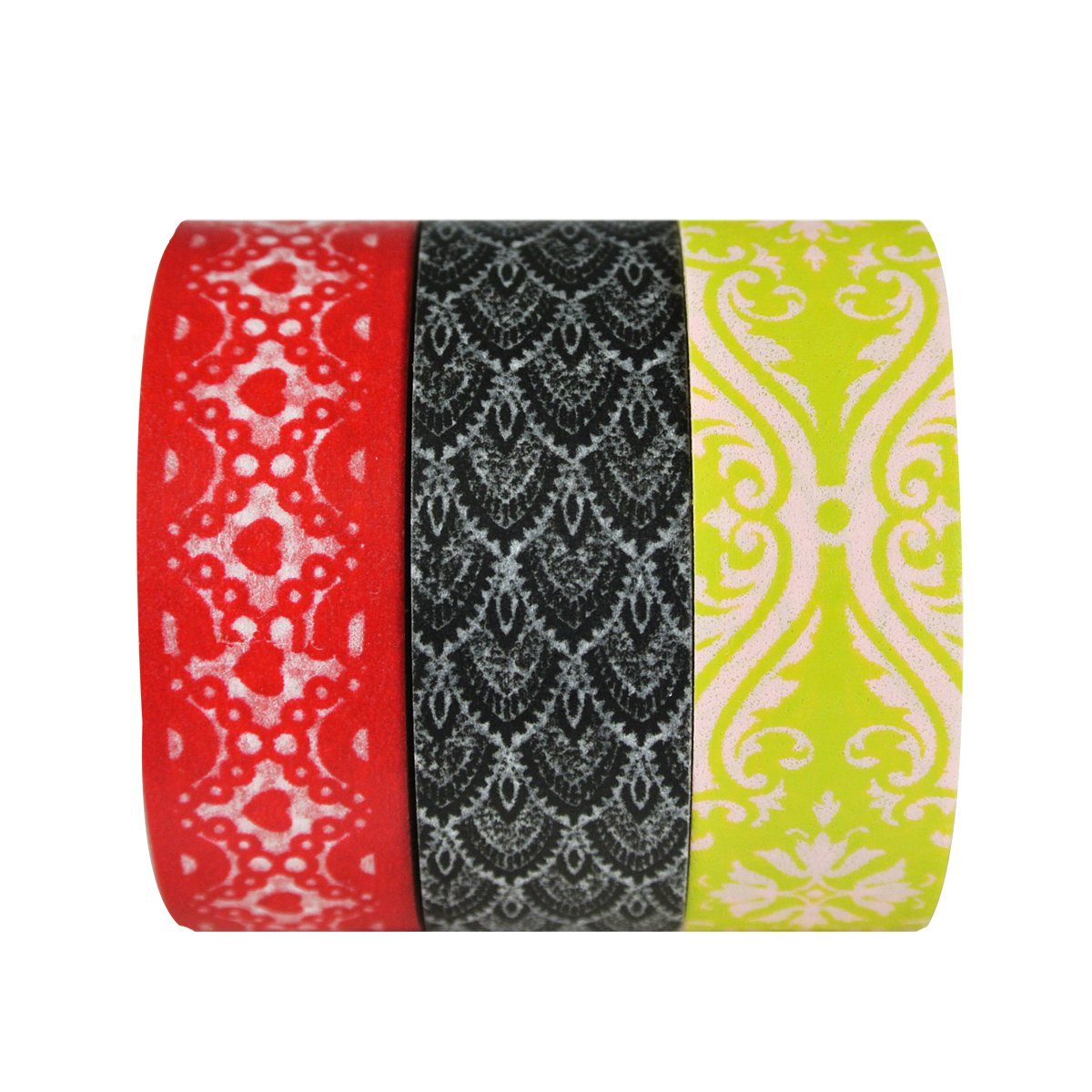 Wrapables Heart Lace and Damask Japanese Washi Masking Tape (set of 3)