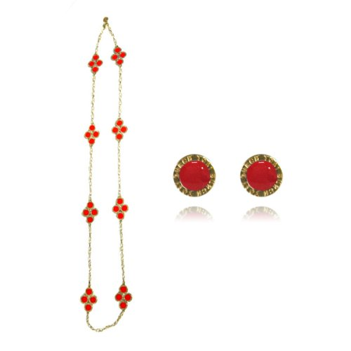 Red Clover Long Chain Necklace with Earrings Jewelry Set