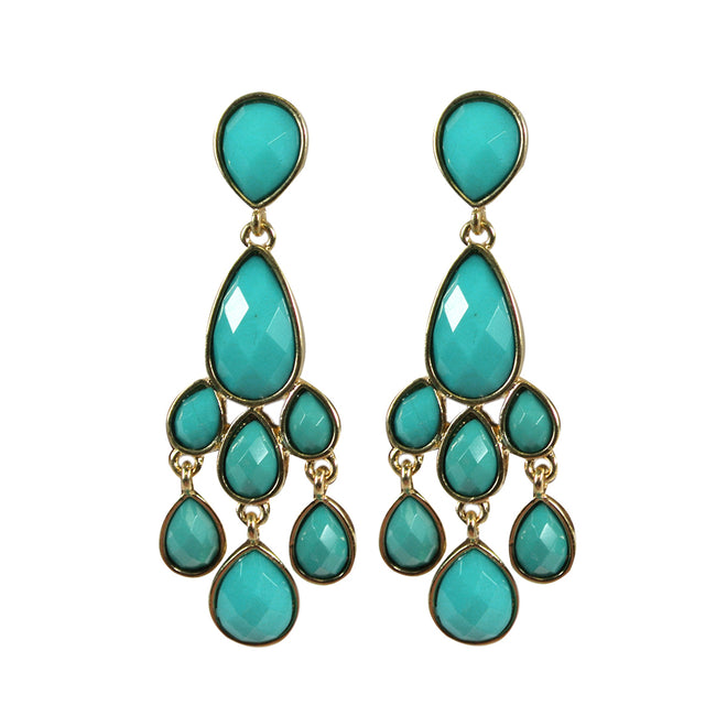 Vintage Faceted Resin Chandelier Statement Earrings