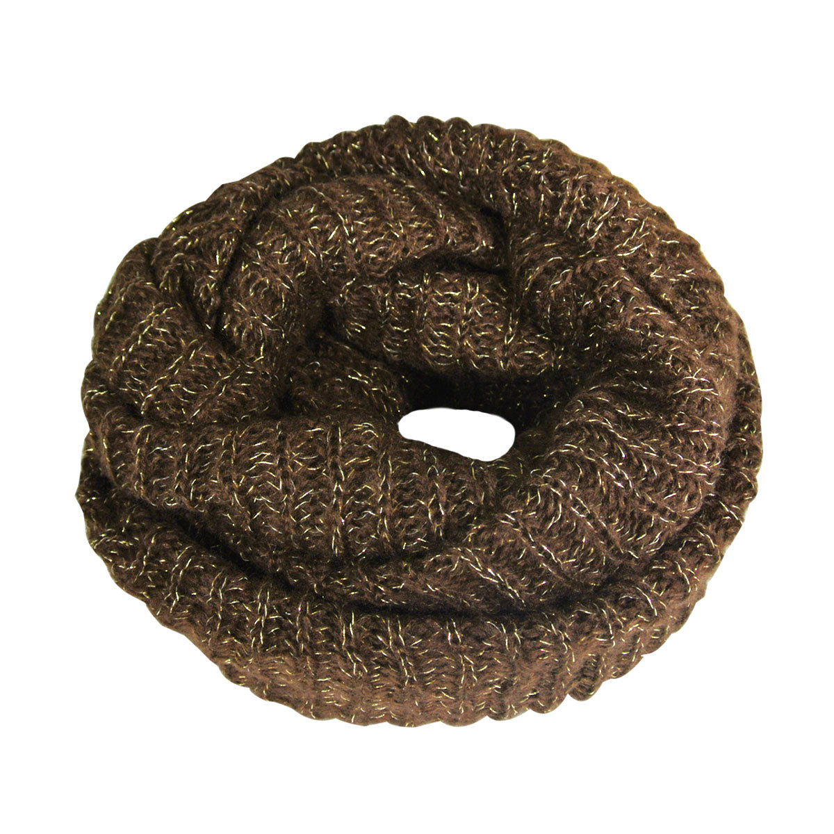 Premium Winter Knit Infinity Scarf with Metallic Gold Threading