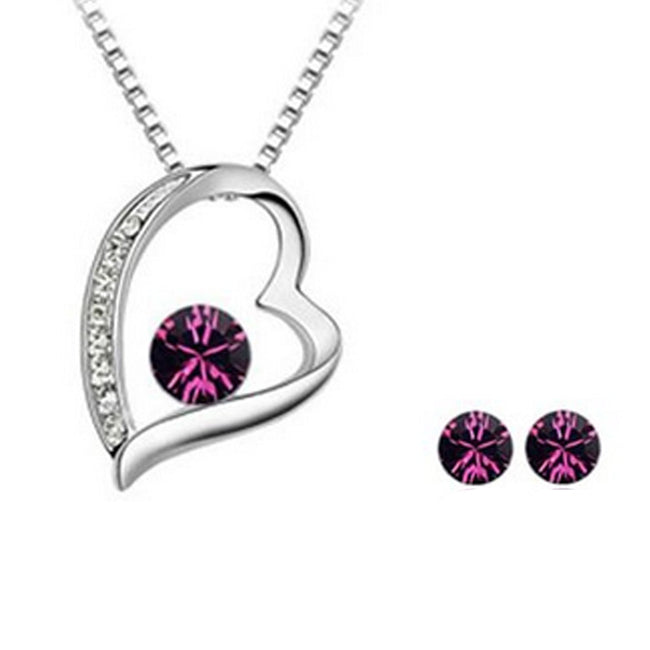 Wrapables Purple Swarovski Elements Crystal Jewelry Set - Heart Pendant Necklace and Earrings