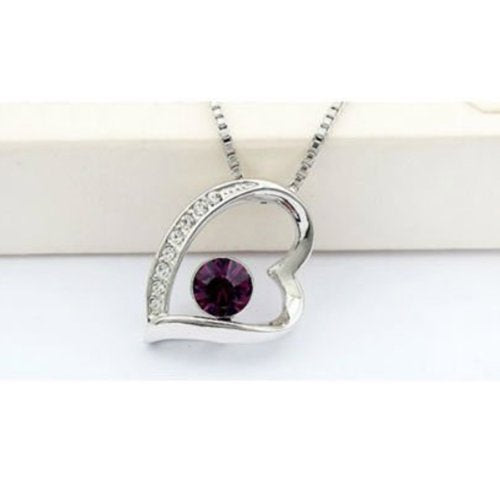 Purple Swarovski Elements Crystal Jewelry Set - Heart Pendant Necklace and Earrings