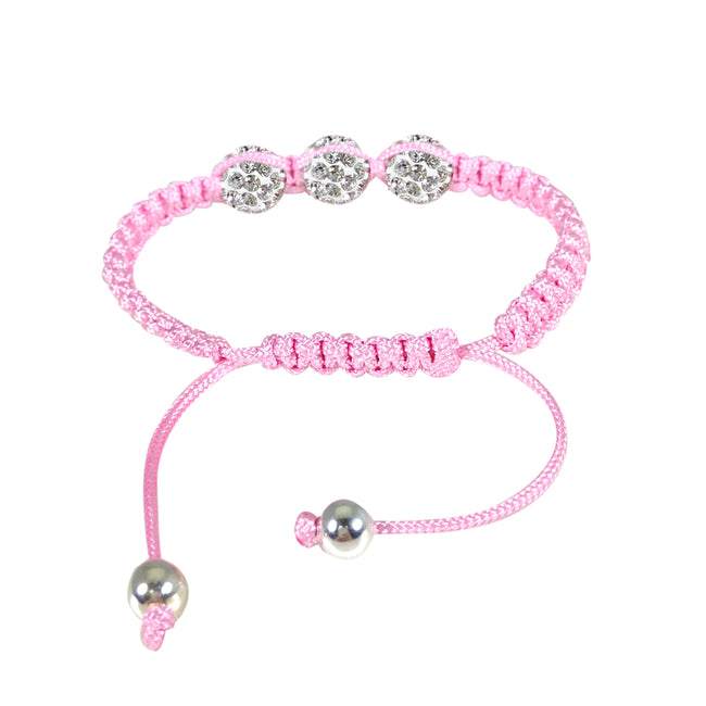 Children's Crystal Beaded Cord Bracelet, Pink
