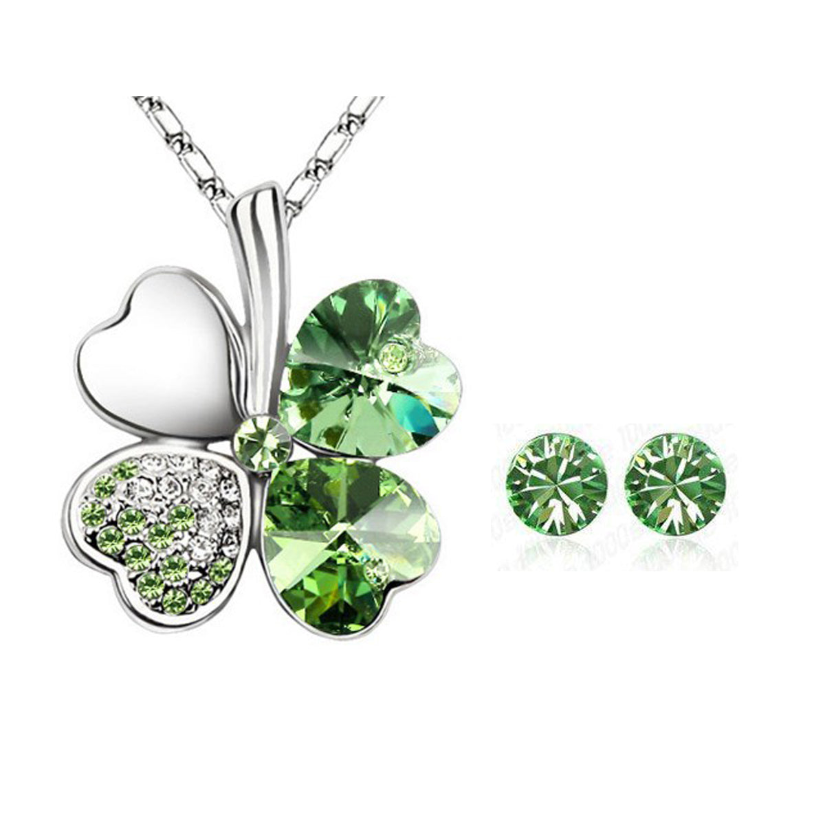 Gold Plated Swarovski Elements Crystal Heart Shaped Four Leaf Clover Pendant Necklace and Stud Earrings Jewelry Set