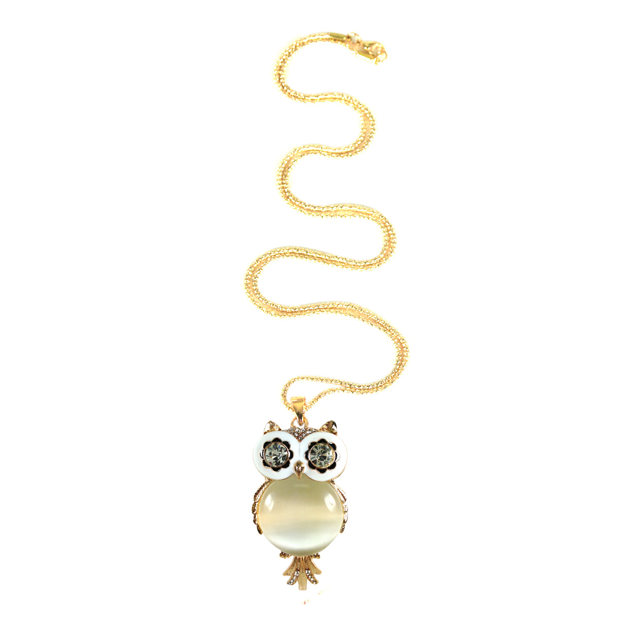 Long Vintage White Belly Gold Plated Owl Pendant Necklace
