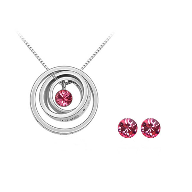 Rose Red Swarovski Elements Jewelry Set - Triple Rings Pendant Necklace and Earrings