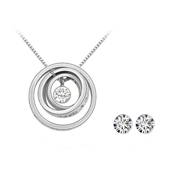 White Swarovski Elements Jewelry Set - Triple Rings Pendant Necklace and Earrings