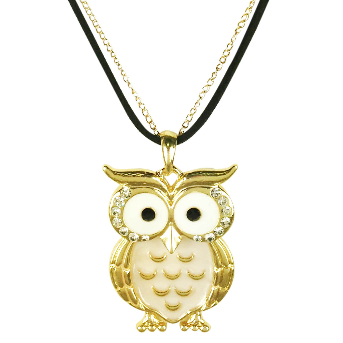Owl Pendant Necklace with Crystal Rimmed Eyes