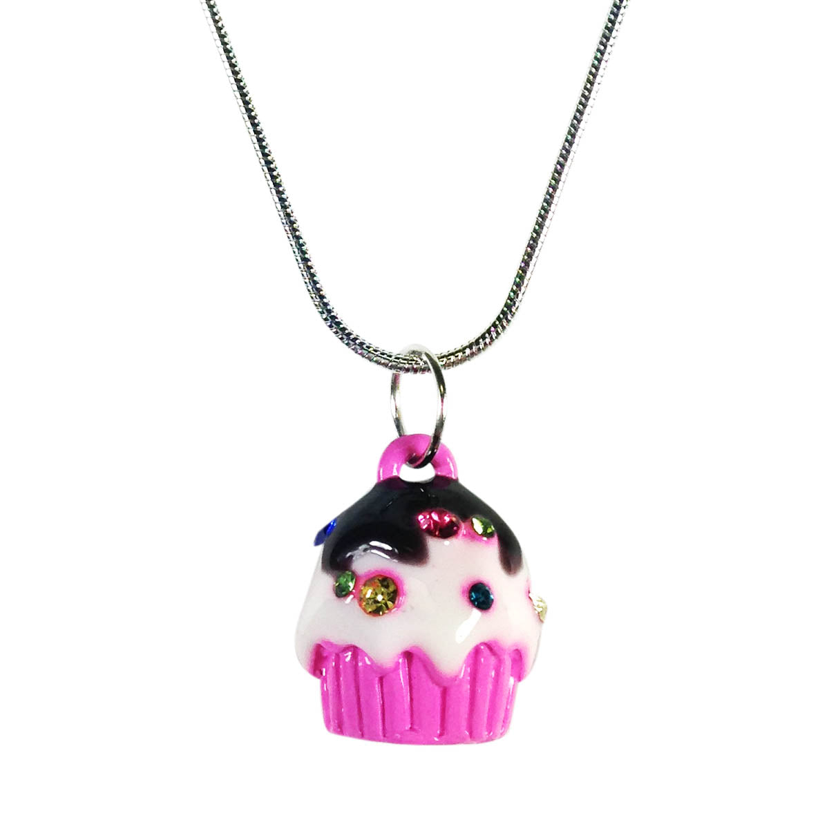 Wrapables Cupcake Pendant Necklace with Multi-Color Crystal Sprinkles