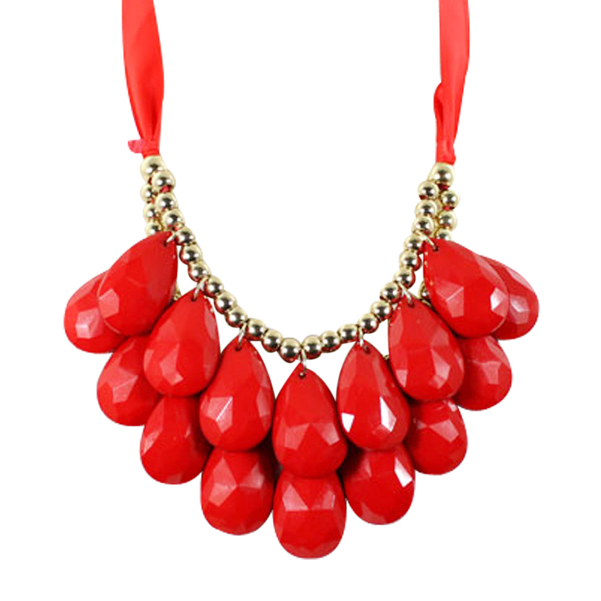 Double Layer Chunky Acrylic Teardrop Bib Necklace