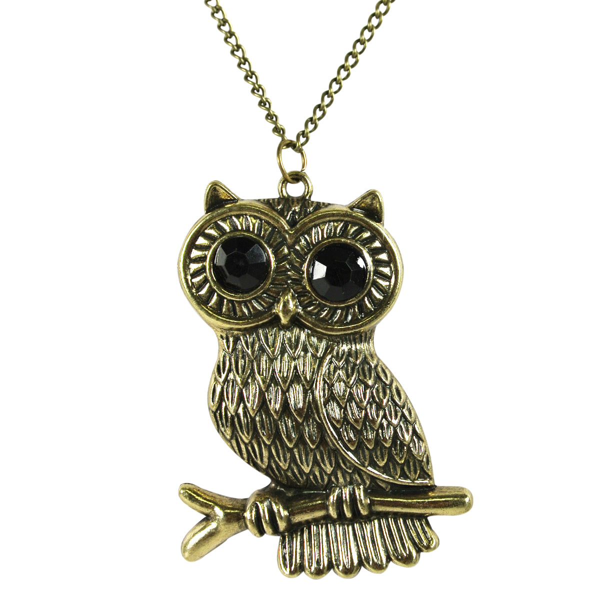 Large Antique Bronze Perching Owl Necklace