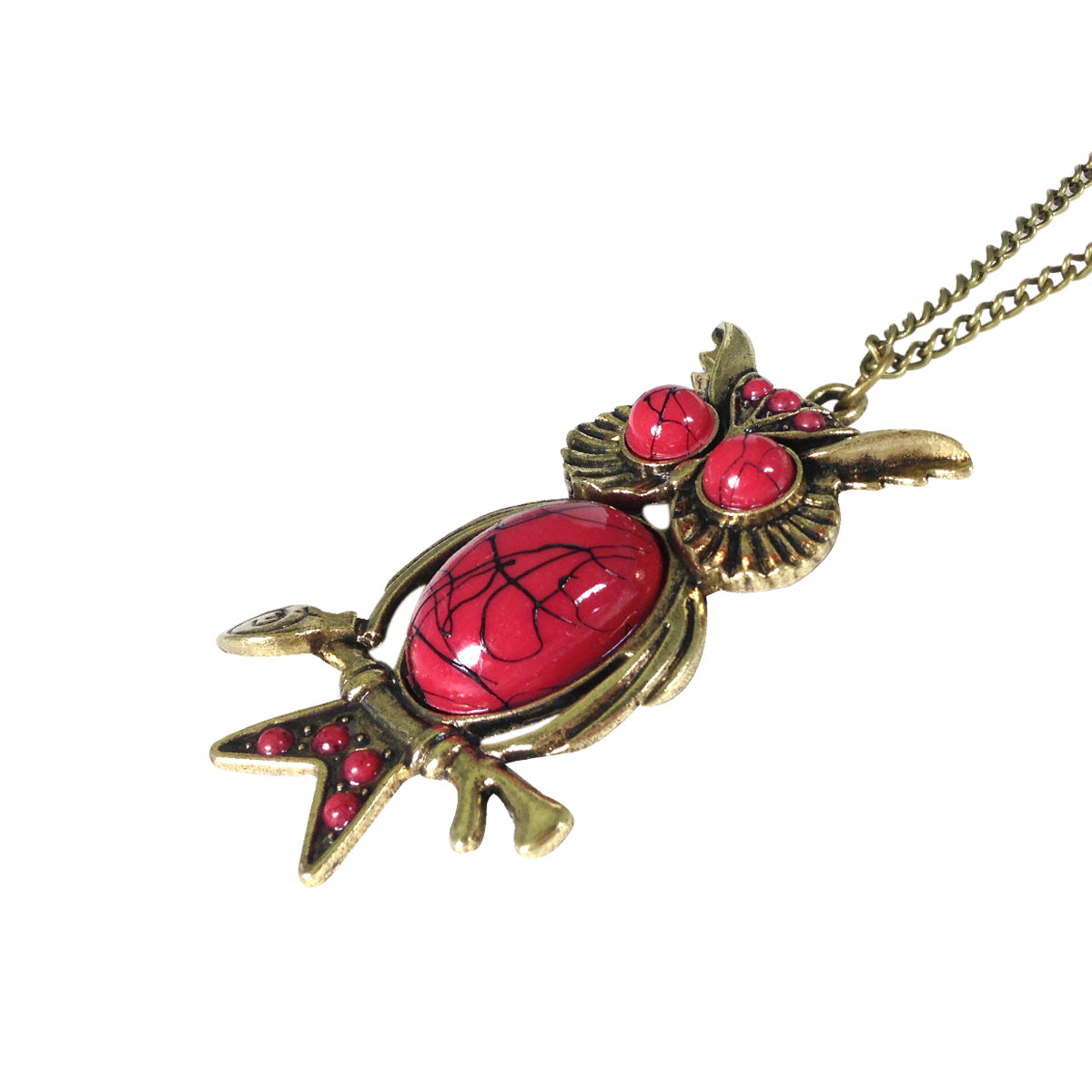 Red Turquoise Vintage Owl Necklace