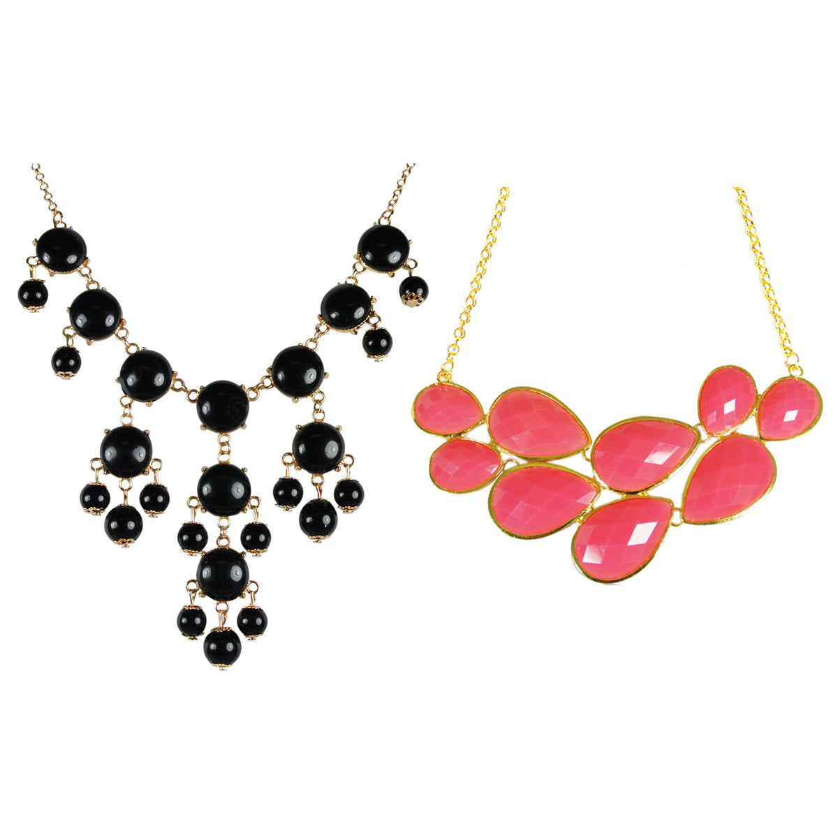 Pink Drop Shape Bubble Statement Necklaces + Black Mini Bubble Bib Statement Necklace [A63992 , A64444]