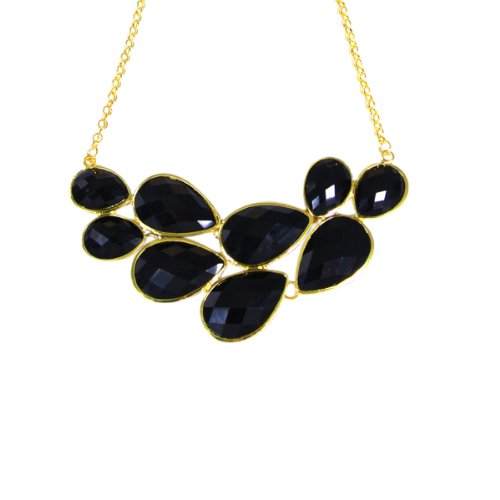 Black Drop Shape Bubble Statement Necklaces + Sky Blue Mini Bubble Bib Statement Necklace [A63993,A64441]