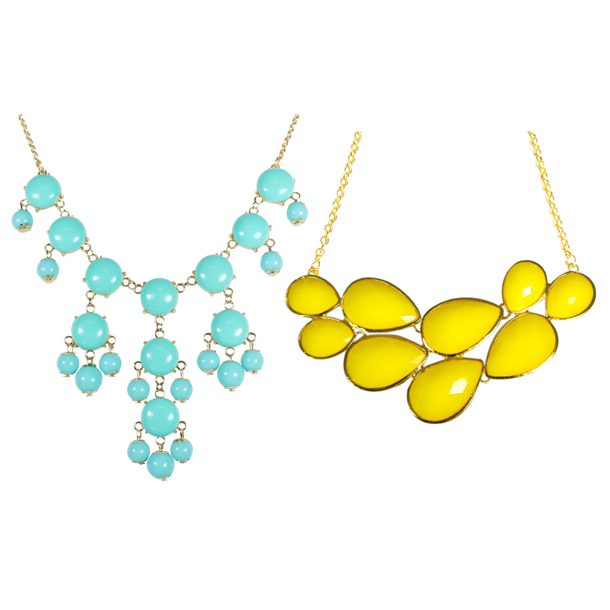 Yellow Drop Shape Bubble Statement Necklaces + Mini Bubble Bib Statement Necklace