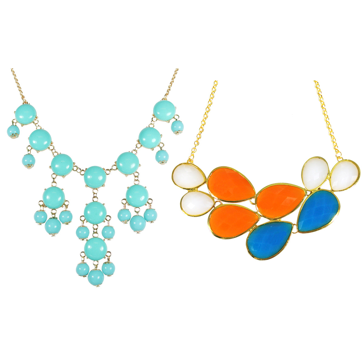 Multi Color Drop Shape Bubble Statement Necklaces + Sky Blue Mini Bubble Bib Statement Necklace (A64616) [A64287, A64441]
