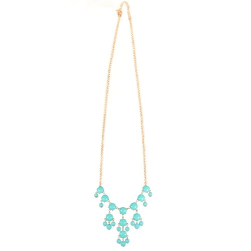 Pink Drop Shape Bubble Statement Necklaces + Sky Blue Mini Bubble Bib Statement Necklace [A63992 ,A64441]