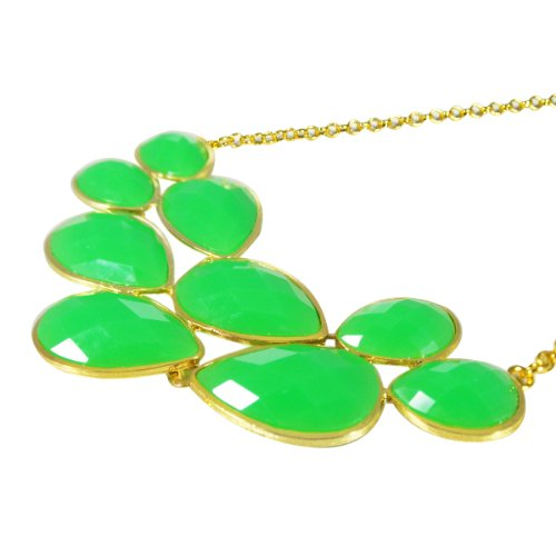 Green Drop Shape Bubble Statement Necklaces + Sky Blue Mini Bubble Bib Statement Necklace (A64618) [A64286, A64441]