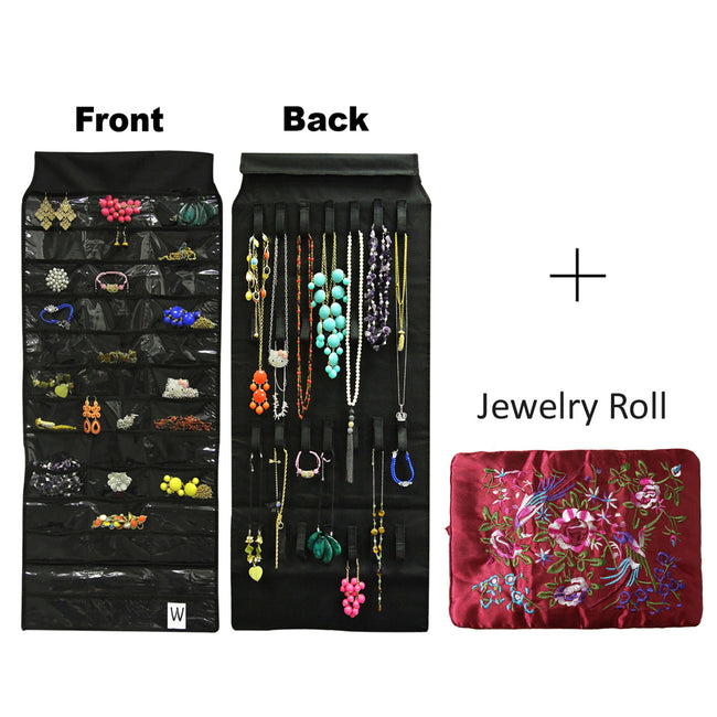 39 Pocket Black Polyester Hanging Jewelry Organizer with 28 Holding Loops + Large Burgundy Silk Embroidered Jewelry Roll