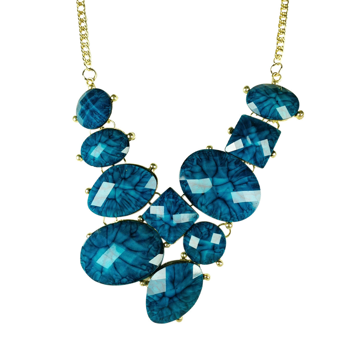 Faceted Resin Bubble Bib Statement Necklace