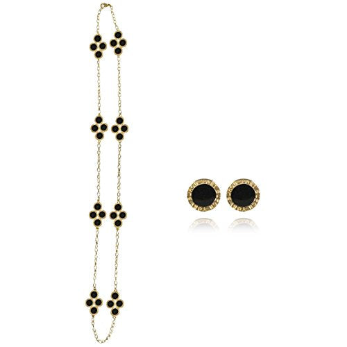Black Clover Long Chain Necklace with Earrings Jewelry Set
