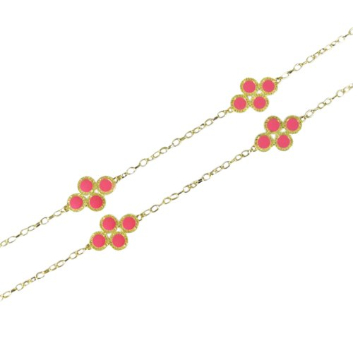 Pink Clover Long Chain Necklace with Earrings Jewelry Set