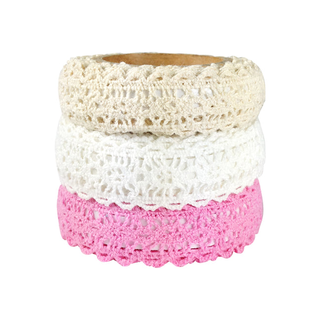 Decorative Lace Tape, 200cm L x 15mm W (set of 3)