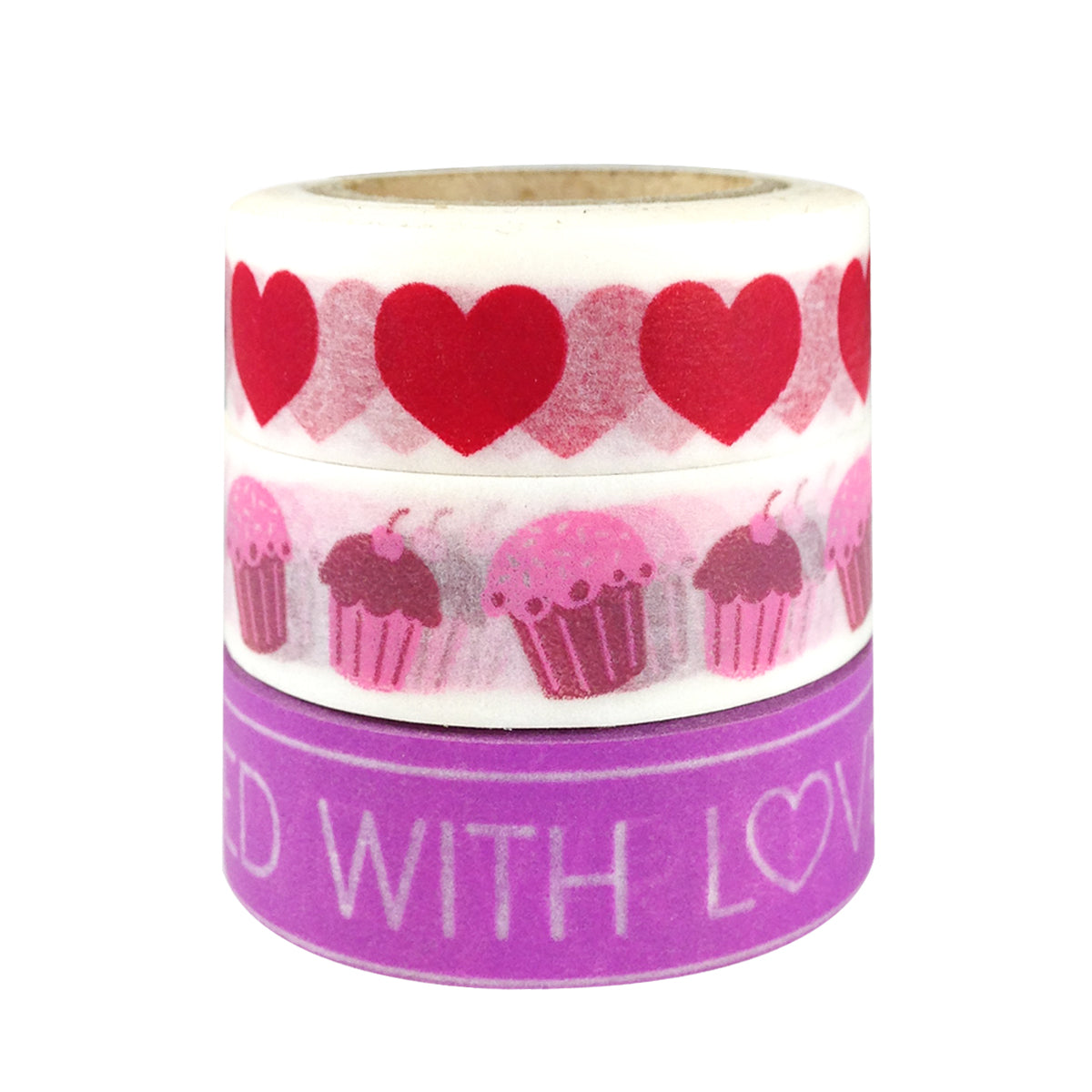 Wrapables I Heart Cupcakes Japanese Washi Masking Tape (set of 3)