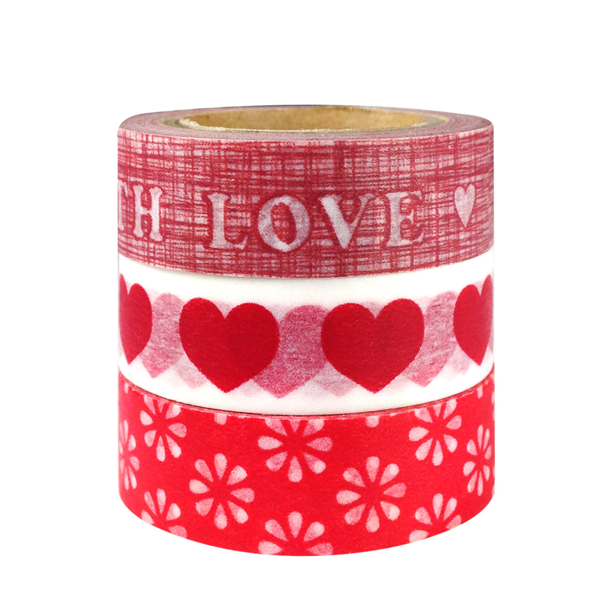 Wrapables Red Love Japanese Washi Masking Tape (set of 3)