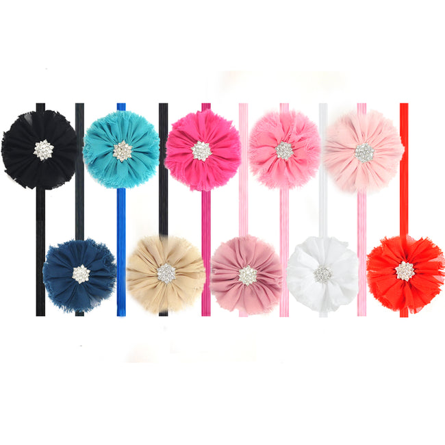 Kella Milla Chiffon Flower Headbands for Baby & Toddler Girls (Set of 10)