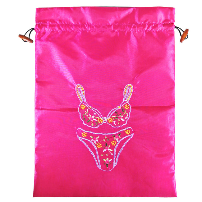 "Silk Embroidered ""Bra & Panties"" Lingerie Bag"