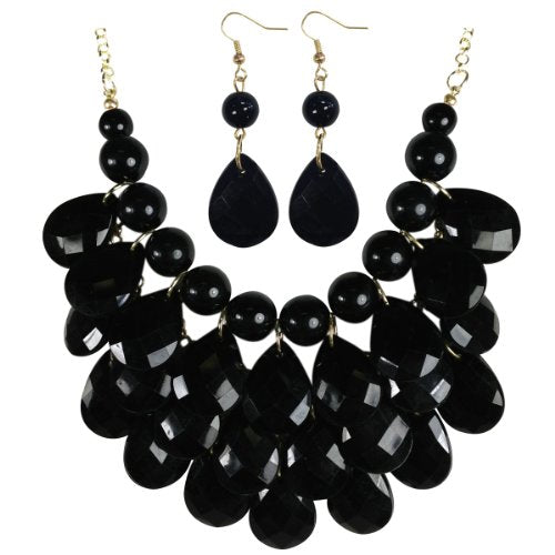 Wrapables Teardrop Bubble Bib Necklace and Earring Set