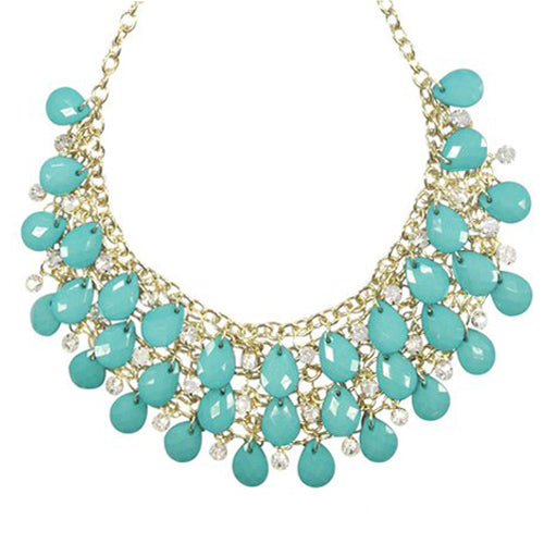 Multilayer Resin and Crystal Bubble Bib Necklace