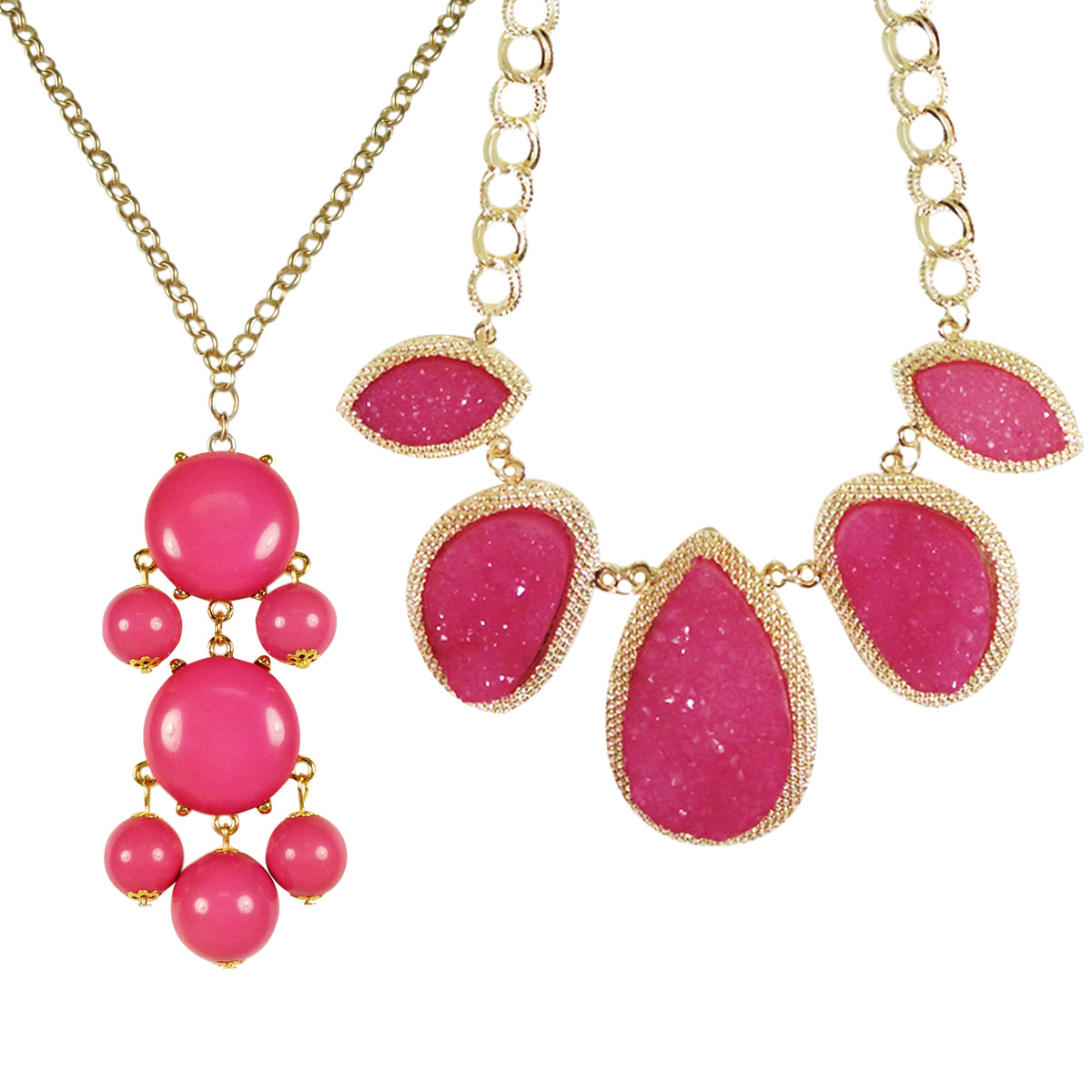 Hot Pink Beaded Bubble Pendant Necklace + Stone Necklace