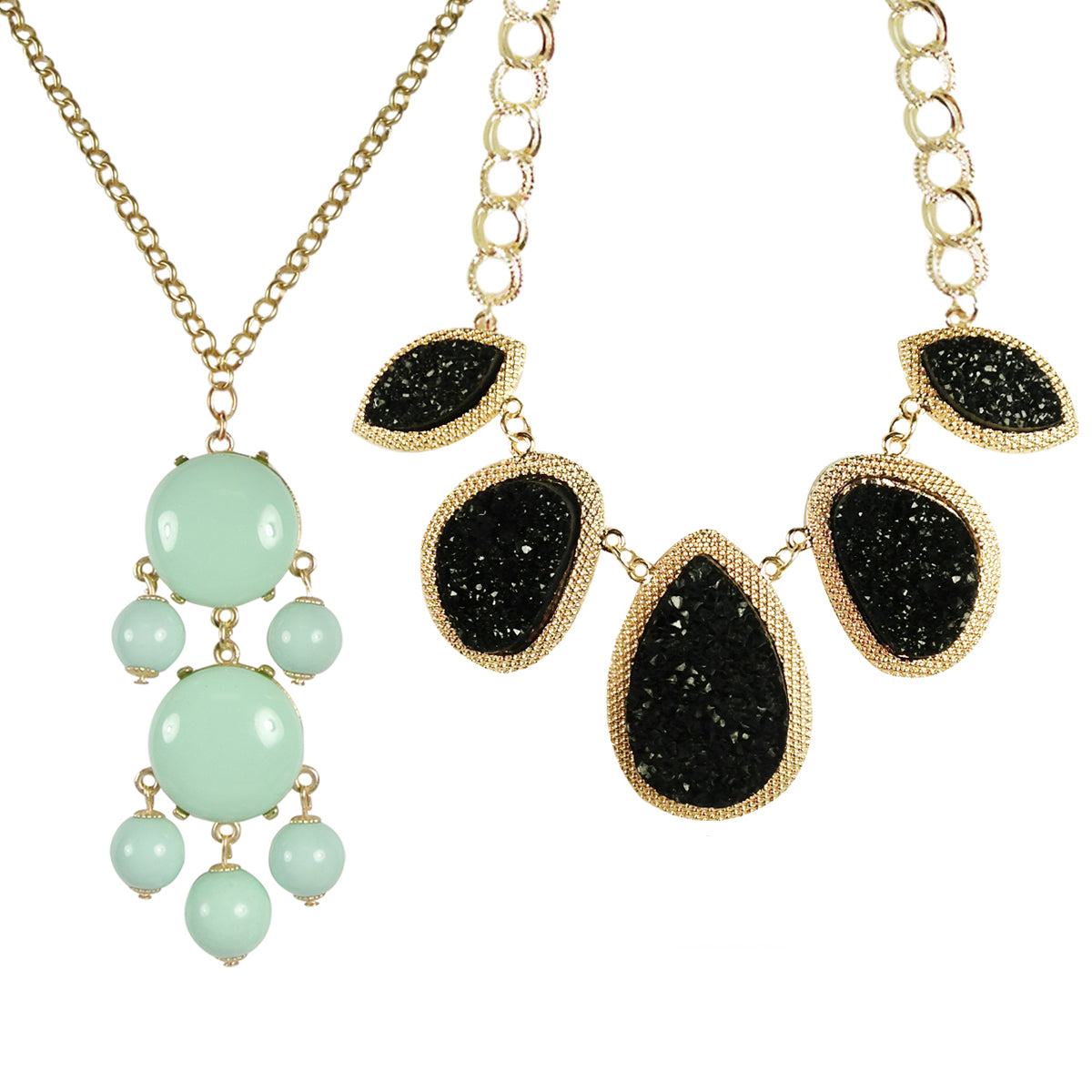 Mint Green Beaded Bubble Pendant Necklace + Black Drop Stone Necklace [A63876, A64559]
