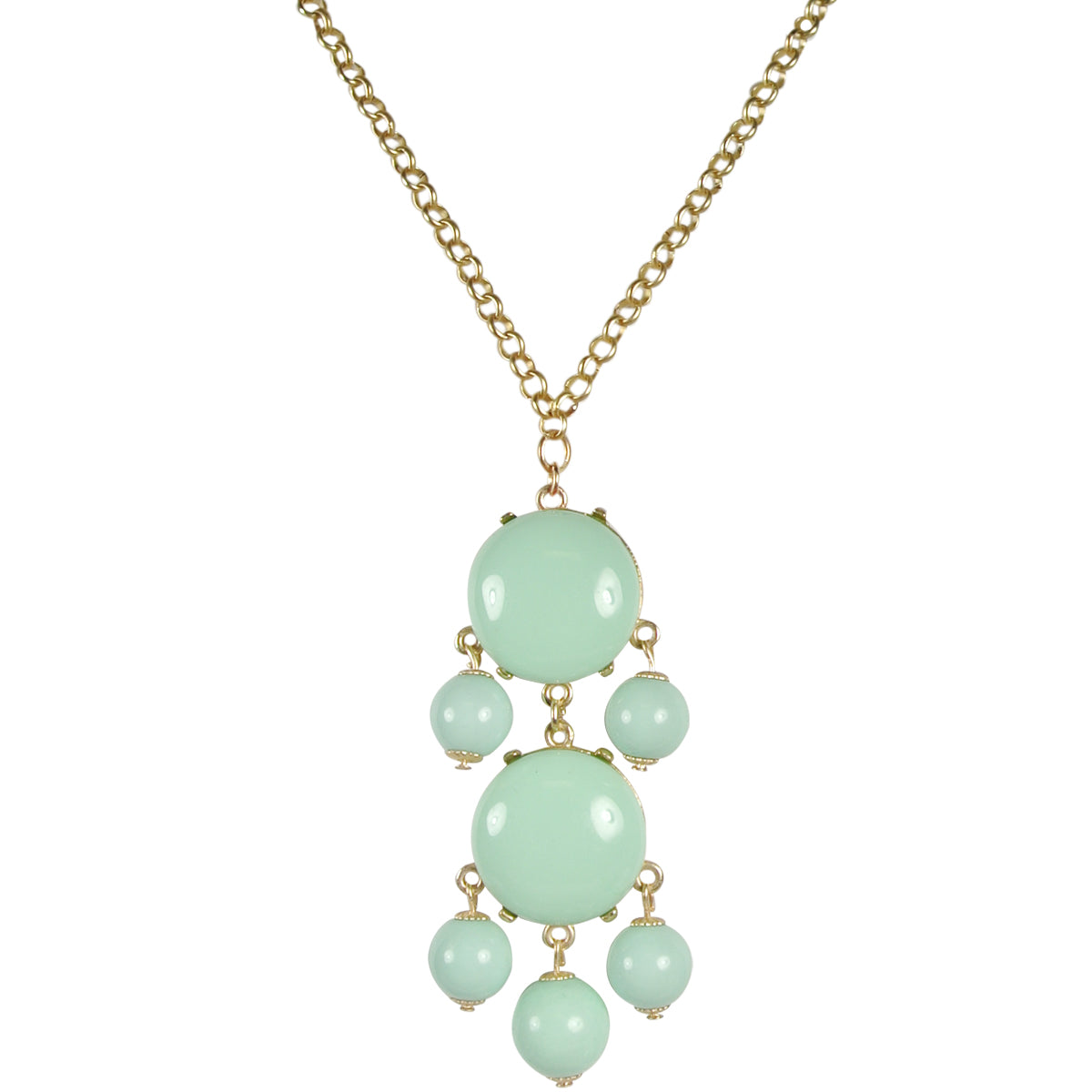 Mint Green Beaded Bubble Pendant Necklace + White Drop Stone Necklace [A63876, A64562]